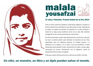 Malala Yousafzai: homenaje: placa color